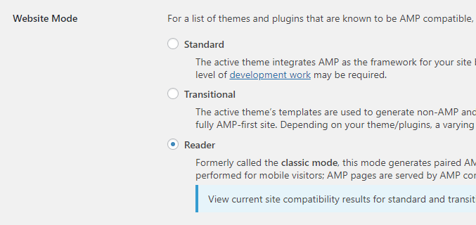 AMPプラグインのWebsite Mode