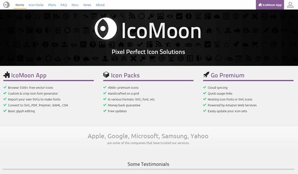 icomoonトップページ