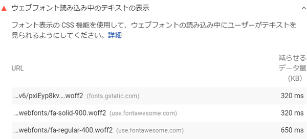 PageSpeed Insights上での警告